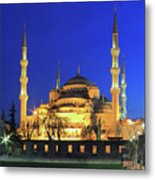 The Blue Mosque At Night Istanbul Turkey Metal Print
