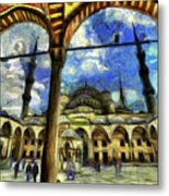 The Blue Mosque Istanbul Art Metal Print