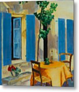 The Blue Shutters Metal Print by Elise Palmigiani