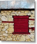 The Boarded Red Window Metal Print