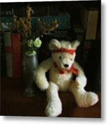 The Book Bear Metal Print