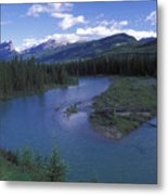 The Bow River And Castle Mountain Metal Print