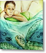 The Boy And The Turtle Metal Print