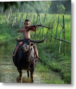 The Boy Playing The Red Violin In Thailand, Asia Metal Print
