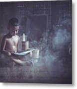 The Boy Reads A Book In The House With Kuan Metal Print