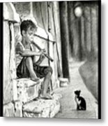 The Boy The Cat And A Flute Metal Print