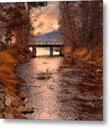The Bridge By The Lake Metal Print