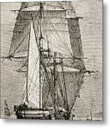 The Brig Hms Beagle From Journal Of Metal Print