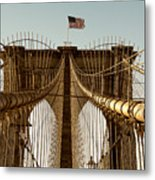The Brooklyn Bridge Flag Metal Print