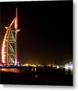 The Burj Al Arab At Night Metal Print