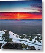 The Burning Clouds At Crater Lake Metal Print