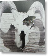 The Butterfly And The Skull Metal Print