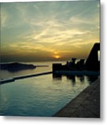 The Caldera View In Santorini Metal Print