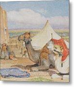 The Caravan, An Arab Encampment At Edfou Metal Print