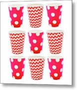 the Card with Red paper disposable glass in polka dot and zigzag isolated on white with copy space Metal Print