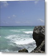 The Caribbean Sea Is Seen From A Rocky Metal Print