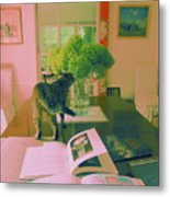 The Cat And The Hydrangea Metal Print