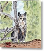 The Cat At The Fence Metal Print