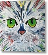 The Cat Got In My Paint Metal Print