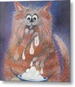 The Cat Who Got The Cream Metal Print