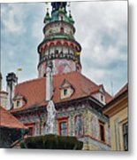 The Cesky Krumlov Castle Tower With A Fountain Below Within The Czech Republic Metal Print