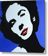 The Charming Lady In Black And White With Red Lips Metal Print