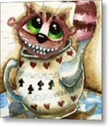 The Cheshire Cat - In A Teapot Metal Print