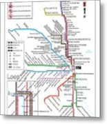 The Chicago Pubway Map Metal Print