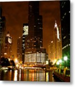 The Chicago River At Night Metal Print