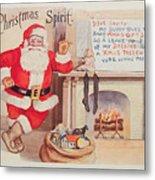 The Christmas Spirit Vintage Card Santa Next To Fireplace Metal Print
