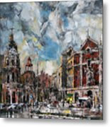 The City Touched By The Sunset Metal Print