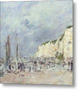 The Cliffs At Dieppe And The Petit Paris Metal Print by Eugene Louis Boudin