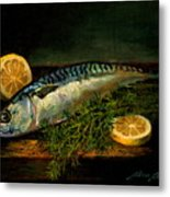 The cold water Mackerel with Dill  Lemon. Metal Print