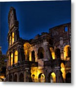 The Coleseum In Rome At Night Metal Print