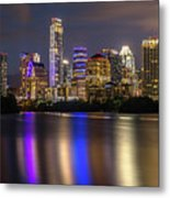 The Colorful Neon Lights On The Austin Skyline Shine Bright Metal Print