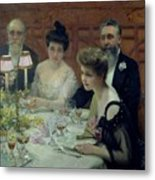 The Corner Of The Table Metal Print by Paul Chabas