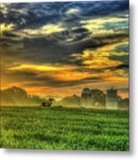 The Cornfield Dawn The Iron Horse Collection Art  Metal Print