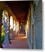 The Corridor By The Serra Chapel San Juan Capistrano Mission California Metal Print