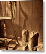 The Cowgirl Boots And The Old Chair Metal Print