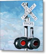 The Crossing - Train Signals Metal Print