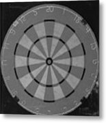 The Dart Board In Black And White Metal Print