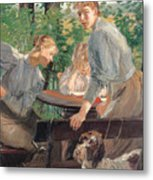 The Daughters Of The Artist In The Garden Metal Print