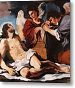 The Dead Christ Mourned By Two Angels Metal Print by Rebecca Poole
