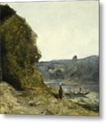 The Departure Of The Boatman Metal Print