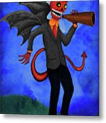 The Devil Appeared To Me Growling Through An Old Megaphone Metal Print