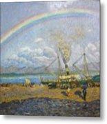 The Downpour. Santona Bay By Dario De Regoyos, 1900. Metal Print