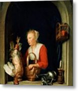 The Dutch Housewife Or The Woman Hanging A Cockerel In The Window 1650 Metal Print