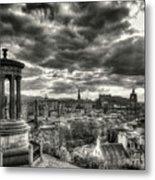 The Edinburgh Skyline, And Dugald Stewart Monument. Metal Print