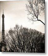 The Eiffel Tower In Backlighting. Paris. France. Europe. Metal Print