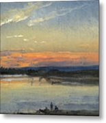 The Elbe In Evening Light Metal Print